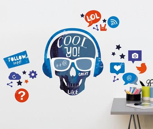 wandtattoo cool skull totenkopf aufkleber home sticker. Black Bedroom Furniture Sets. Home Design Ideas