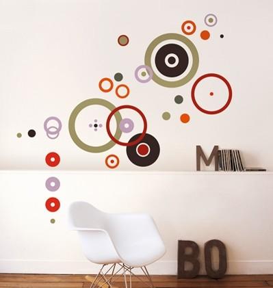 wandtattoo ringe und kreise rot gr n homesticker aufkleber. Black Bedroom Furniture Sets. Home Design Ideas