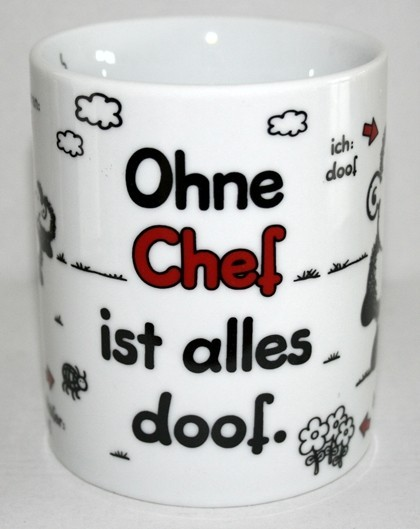 sheepworld namenstasse ohne chef ist alles doof kaffeetasse b ro tasse abschied ebay. Black Bedroom Furniture Sets. Home Design Ideas