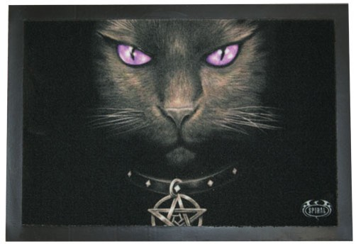 Fussabtreter Fussmatte Spiral Schwarze Katze Turmatte Gothic Dark