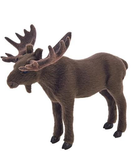 dekofigur elch mit kunstfell und geweih in versch gr en wild jagd hirsch deko ebay. Black Bedroom Furniture Sets. Home Design Ideas