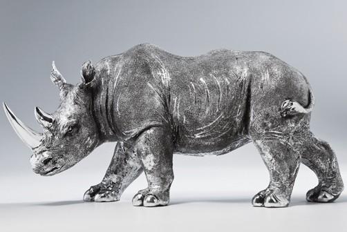 deko figur nashorn rhino antique afrika zoo tierpark tiere metall optik ebay. Black Bedroom Furniture Sets. Home Design Ideas