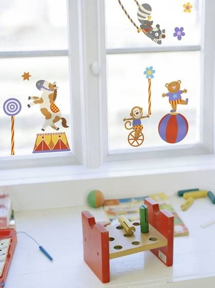 Fenstersticker zirkus manege fensterbilder kinderzimmer ebay for Zimmer deko zirkus
