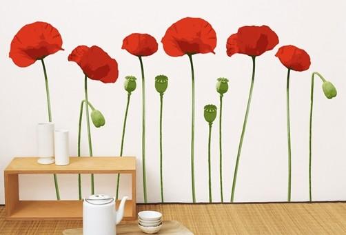 Wandtattoo rote Mohnblumen mit Kapseln Blüten Blume Pflanzen