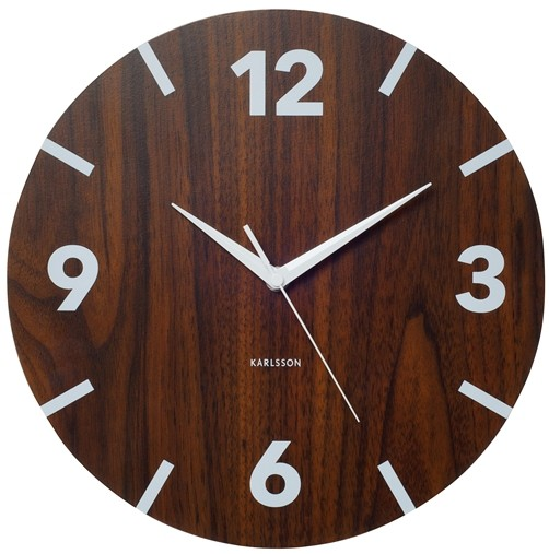 designer karlsson wanduhr wood numbers uhr holz optik schlichter stil design ebay. Black Bedroom Furniture Sets. Home Design Ideas