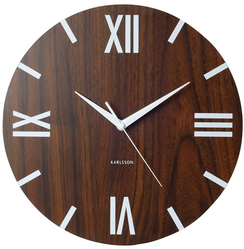 designer karlsson wanduhr holz optik r mische zahlen uhr design ebay. Black Bedroom Furniture Sets. Home Design Ideas