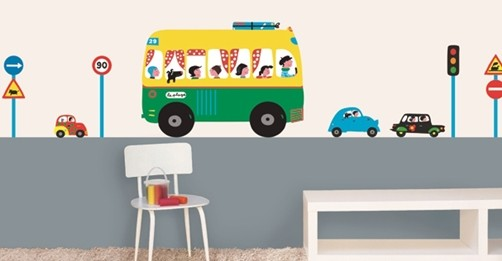 xxl kinder wandtattoo bus und autos kinderzimmer deko aufkleber sticker schulweg ebay. Black Bedroom Furniture Sets. Home Design Ideas