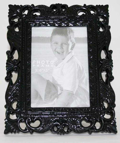 bilderrahmen barock schwarz oder weiss 9 x 13 cm fotorahmen kitsch fotohalter ebay. Black Bedroom Furniture Sets. Home Design Ideas