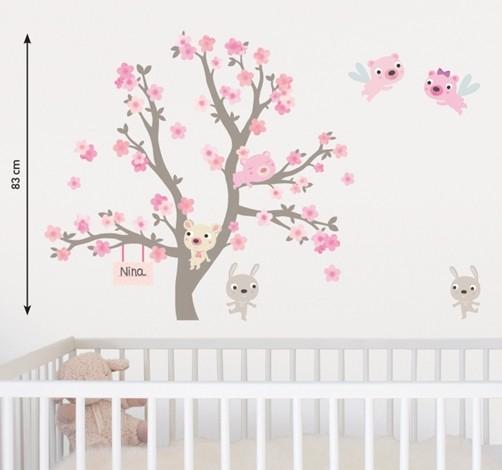 Kinder Wandtattoo Blühender Zweig Mit Tieren Wandsticker