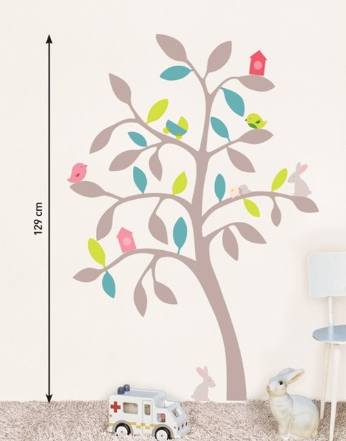 kinder wandtattoo bunter baum wandsticker sticker. Black Bedroom Furniture Sets. Home Design Ideas