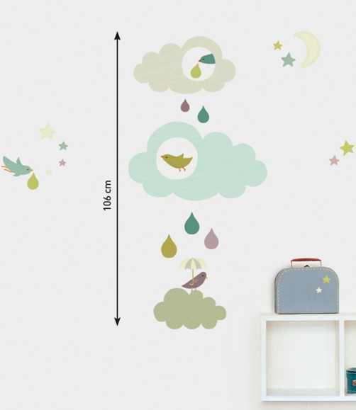 kinder wandtattoo wolken mit regentropfen wandsticker sticker kinderzimmer ebay. Black Bedroom Furniture Sets. Home Design Ideas