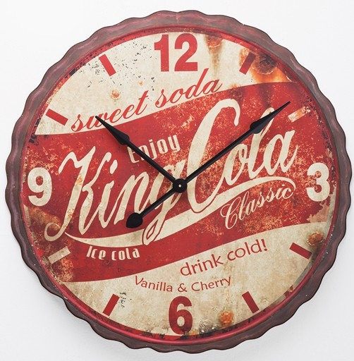 vintage xxl wanduhr cola king 85 cm retro shabby uhr kare usa amerika clock. Black Bedroom Furniture Sets. Home Design Ideas