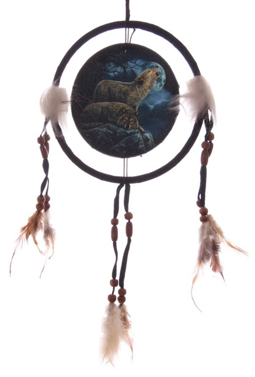 traumf nger w lfe bei vollmond versch gr en indianer deko dreamcatcher wolf ebay. Black Bedroom Furniture Sets. Home Design Ideas