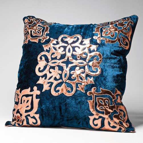 elegantes kissen noble blue 60 x 60 samt 2 modelle sofakissen dekokissen luxus ebay. Black Bedroom Furniture Sets. Home Design Ideas