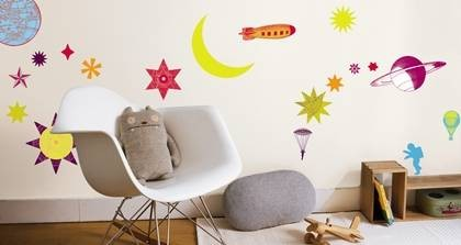 wandtattoo sonne mond sterne kinderzimmer wandsticker ebay. Black Bedroom Furniture Sets. Home Design Ideas