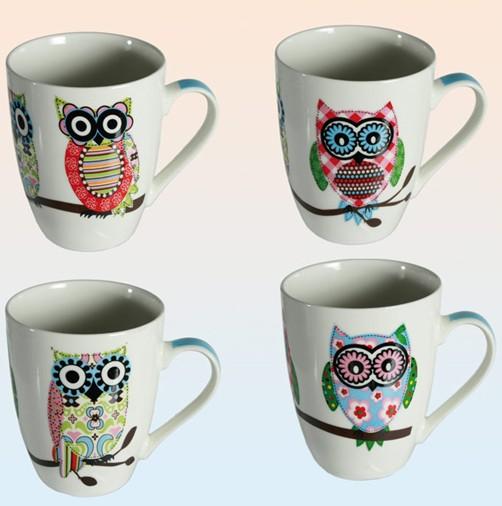 4er set eulen tassen funny owl kaffeetasse uhu eule. Black Bedroom Furniture Sets. Home Design Ideas