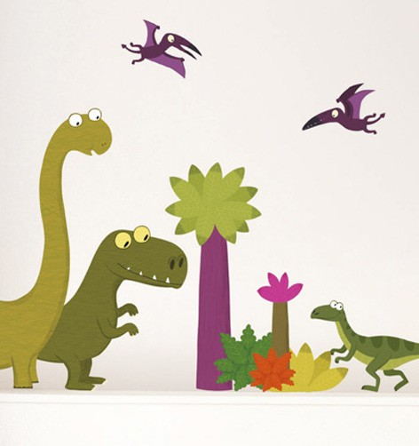 Kinder wandtattoo dinos wandsticker dinosaurier - Wandtattoo dino ...