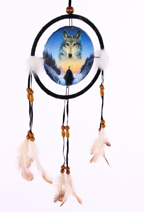 traumf nger kosmischer wolf versch gr en indianer deko dreamcatcher w lfe ebay. Black Bedroom Furniture Sets. Home Design Ideas