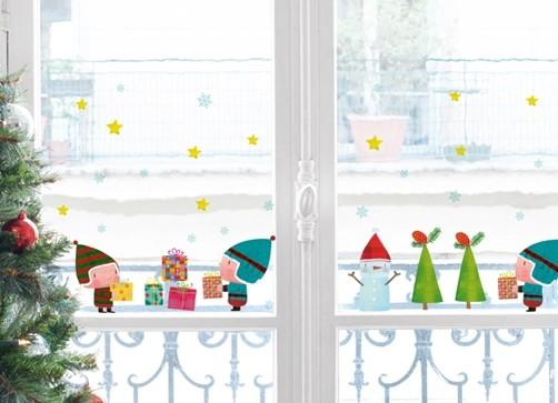 xmas fenstersticker wichtel und geschenke weihnachten advent fensterfolie ebay. Black Bedroom Furniture Sets. Home Design Ideas