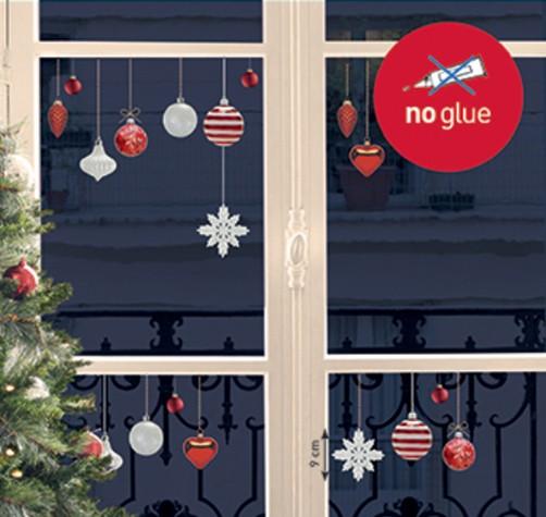 Xmas fenstersticker rote und wei e weihnachtskugeln wohnen - Weihnachtskugeln fenster ...