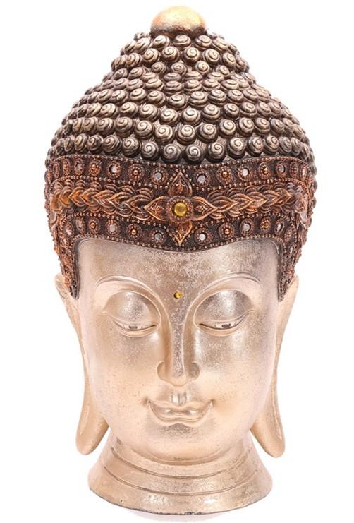 thai buddha kopf 41 cm goldfarben mit spiegeln und stein skulptur deko feng shui ebay. Black Bedroom Furniture Sets. Home Design Ideas