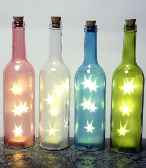 farbige flasche stern sterne led beleuchtung lichtobjekt. Black Bedroom Furniture Sets. Home Design Ideas