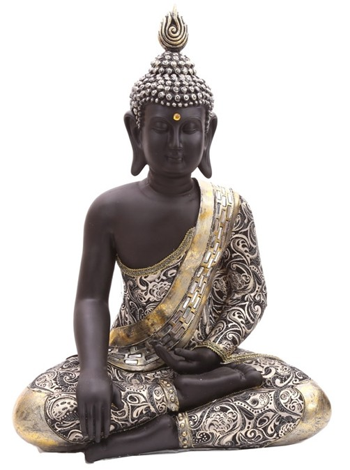 thai buddha figur sitzend mit metallartigen effekten 65 cm kaufen. Black Bedroom Furniture Sets. Home Design Ideas