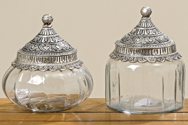 Glas Vorratsdose mit silbernem Deckel orientalisch