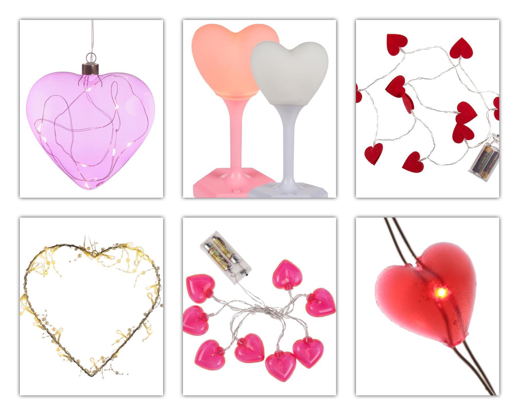 Kollage mit Dekobeleuchtung / Lichterketten für den Valentinstag