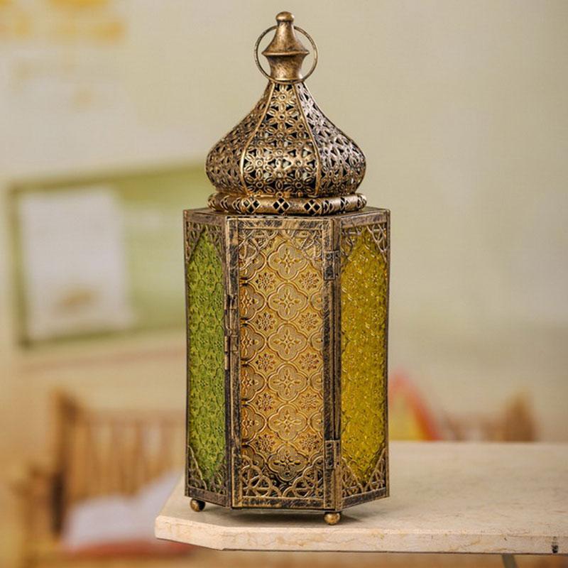 Orientalische Laterne Buntes Glas 43cm