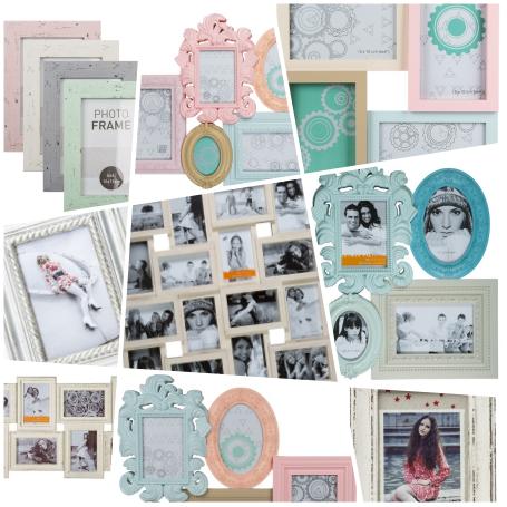 Collage VIntage Bilderrahmen und Multirahmen in Pastellfarben