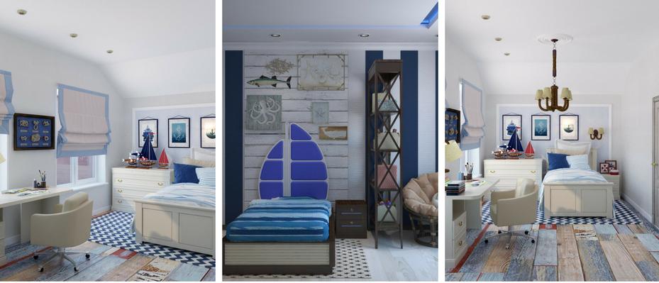 Kinderzimmer im maritimen Wohnstil in Blau gehalten