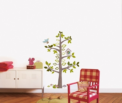 wandtattoo messlatte baum mit v geln ok 4 kids deko. Black Bedroom Furniture Sets. Home Design Ideas