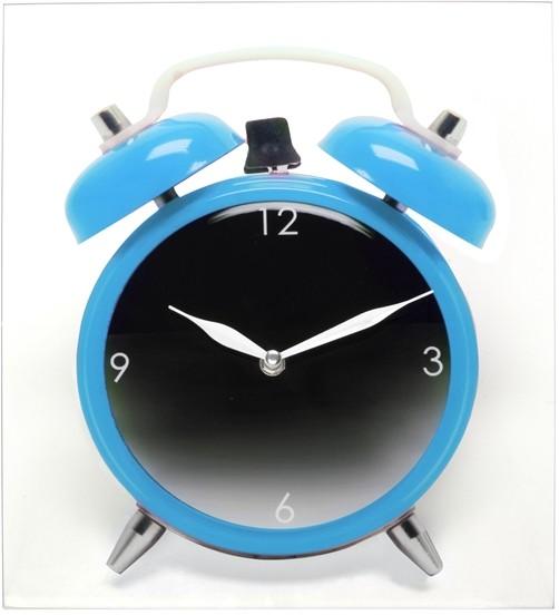glas wanduhr twinbell mit wecker motiv blau kaufen. Black Bedroom Furniture Sets. Home Design Ideas