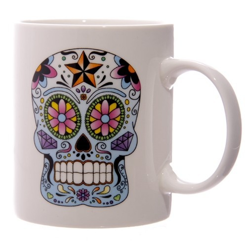 weisse totenkopf tasse day of the dead kaufen. Black Bedroom Furniture Sets. Home Design Ideas