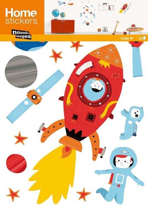 Kinder Wandtattoo Weltraum mit Space Shuttle OK 4 Kids Deko